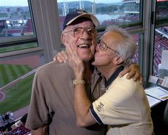 """From the #Cincinnati #Enquirer - a priceless moment between Joe Nuxhall and Marty Brennaman - they were good friends - my son loved to listen to """"Nuxey"""" - a great guy"""
