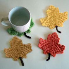 crochet maple leaf coasters