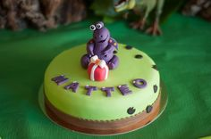 Cute cake at a Dinosaur Themed 2nd Birthday Party with Lots of Cute Ideas via Kara's Party Ideas | KarasPartyIdeas.com #Dinosaur #PartyIdeas #PartySupplies #cake