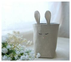Bunny Rabbit Box Natural Oatmeal Linen Fabric Bin Organizer Storage Basket Embroidery Handmade elitett