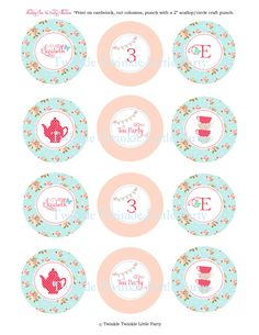 Shabby Chic Tea Party Cupcake Toppers by twinklelittleparty