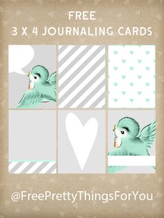 Journaling Cards: Free 3 x 4 Bluebird Project Life Printables