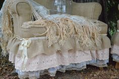 INSPIRATION: burlap upholstery with a lace skirt at Chateau De Fleurs