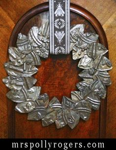 DIY this NON METAL--cut with scissors! Ceiling Tile Wreath Blog with full instructions. From MrsPollyRogers.com