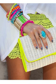 neon outfit. (Electric Festival Style With UD.) #neon #bright #colors #blacklight
