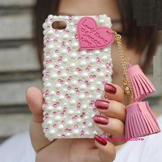 iphone 5 cover Crystal iphone 5 case pearl iphone 4s case rhinestone iphone 4 case Diamond leather Heart tassel Pink Pendant iPhone case