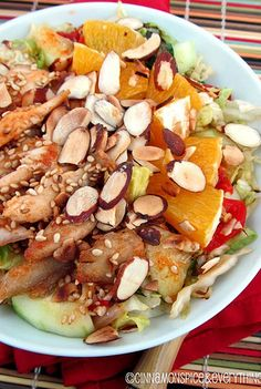 This Chinese Chicken Salad looks so delicious I cant wait to make it! The oranges would bring such a great pop of flavor | cinnamon spice and everything nice