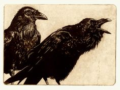 Award Winning Print AWAITING ALEXANDER Raven by RAVENSTAMPS