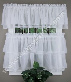 Gypsy curtains are an elegant ruffled tier curtain and valance separates collection. The Gypsy has cascading payers of soft, crinkled voile to create an elaborate bouffant-styled window covering updated for today's décor.  #Cafe #Tier #Curtains