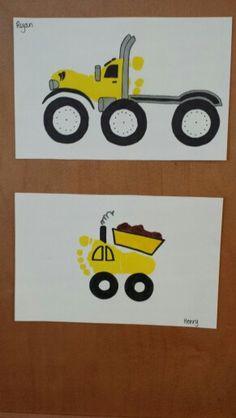 Footprint truck art craft for kids! Fun for boys!