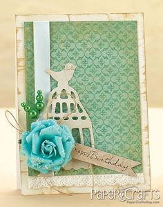 Shabby Chic Birthday Card by @Amy Wanford (Aimes) birdhouses, birthday card, ami wanford, card designs, airplanes, bird cage, birdcages, ami lyon, paper crafts