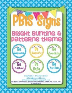 Bright Buntings & Patterns Theme PBIS Posters FREEBIE!