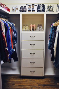 Kitting our newly renovated walk-in wardrobe - plenty of shoe and handbag space