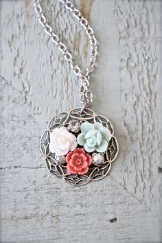Shabby chic vintage style flower cluster necklace by sweetsimple