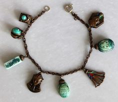 DECO VINTAGE CZECHOSLOVAKIA EGYPTIAN REVIVAL CHARM BRACELET BRACELET FREE SHIPPI | eBay