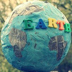 summer crafts, mach globe, idea, learn geographi, globes, paper mache, earth day crafts, educ, kid crafts