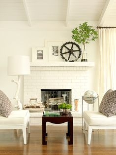 white living, living rooms, white spaces, fireplac, mantel
