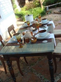 Love this refinished table using colored stain, for our back porch dinning area