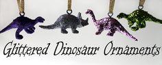 Tutorial: Make Glittered Dinosaur Ornaments - from dollar store stuff!