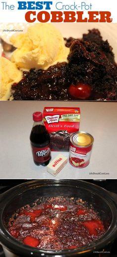 Chocolate Cherry Dr. Pepper Cobbler in the Crock Pot. The Best Crock-Pot Cobbler!!!
