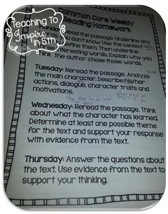 Common Core Aligned Weekly Reading Reviews...blog post with examples and details. $