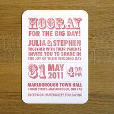 Modern Block Type Wedding Invitation - 'Hooray' Design - One Sample. $3,25, via Etsy.