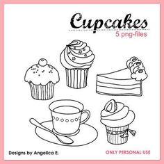 Free Cupcake Digital Stamps