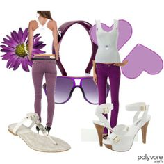 Purple skinny jeans outfit - casual and simple with a white and purple color scheme.