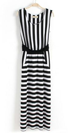Black White Striped Sleeveless Bandeau Dress