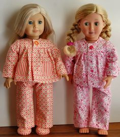 Warm and cozy pajamas.  Pattern purchased from Little Abbee  on Etsy.  Sewing for American Girl Dolls