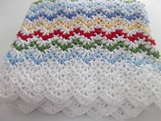 Vintage Ripple crochet afghan, made with a pattern from Churchmouse Yarns & Teas: http://www.churchmouseyarns.com/collections/churchmouse-at-home-patterns/products/vintage-crocheted-throw