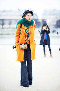 love the colors. Paris Fashion Week Fall 2013 Street Style - Paris Street Style Pictures PFW - ELLE