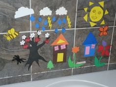 Craft foam cut into shapes: dip in water and place onto a wall mirror or standing mirror or at home in the bathroom.