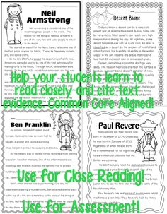 40 Informational Text Passages for Second Grade. Use for Close Reading or Assessment. What will you find for each passage? 1 text with border 1 text w/o border (For Close Reading procedures) 2 RI.1 Graphic Organizers 2 pages with Common Core Aligned Text Dependent Questions Full Answer Key Scope and Sequence of CCSS within the Table of Contents 20 pages of Close Reading Tools such as Anchor Charts for Close Reading strategies, Text Coding Guides, bookmarks, and lesson/vocabulary suggestions.