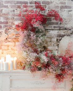 Fire light floral baby's breath installation mix colors lovely