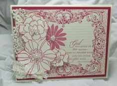 Stampin' Up! Stampin' Supplies; Stamps: Trust God, Secret Garden; Paper: Very Vanilla, Respberry Ripple*, Print Poetry DSP Stack*; accessories: lace from the Artisan Embelishment Kit*, Pearl Basic Jewels  *Stampin' Up! Items retired
