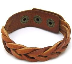 Fashion  Orange Leather Bracelet With Metal Buckle by sevenvsxiao, $5.50