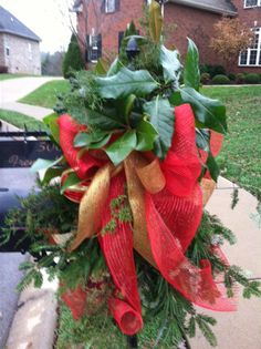 Christmas Mailbox Decoration - Red Deco Mesh with Gold Ribbon, Red & Gold Ornaments, and Greenery.