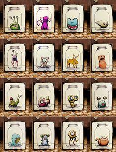 All 16 Mason Jar Critters (The Whole Set) by Kudulah - cute