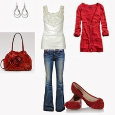 Casual Outfits | Red Love  American Outfitters cardigan, ANM Rosette tank top, J Brand jeans, Burgundy shoes, Valentino tote bag