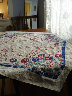 Vintage 1960s Linen Tablecloth Square 2012616
