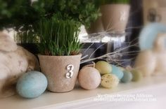 spring mantel decor. Love the muted colors!