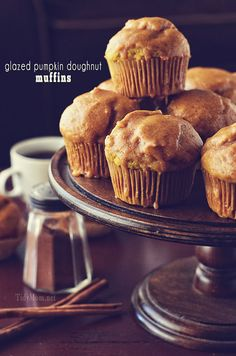Glazed Pumpkin Doughnut Muffin recipe at TidyMom.net