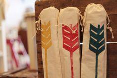 favor bags, birthday parti, bag idea, arrows, graphic, archeri idea, parti favor, archeri parti, arrow paint