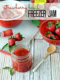 Strawberry Basil Freezer Jam. #strawberries #jams #spreads #summer #canning
