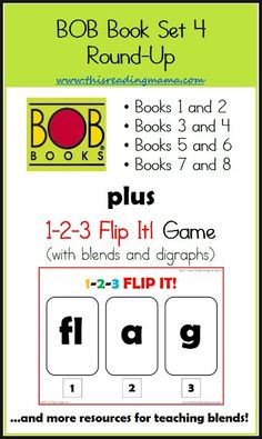 BOB Book, Set 4 Round-Up plus 1-2-3 Flip It! Game for Blends/Digraphs AND a list of resources for teaching blends and digraphs | This Reading Mama