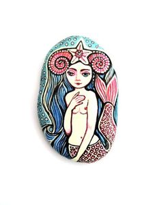 Mermaid / painted rock / house decor / hand painted /collectible art / Miniature/ Fable / fairy tale