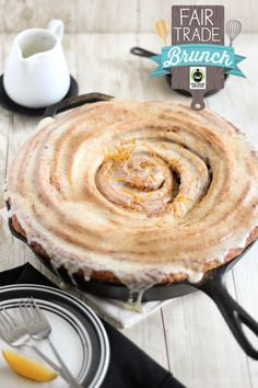 Giant Skillet Cinnamon Roll with Orange-Cream Cheese Glaze.