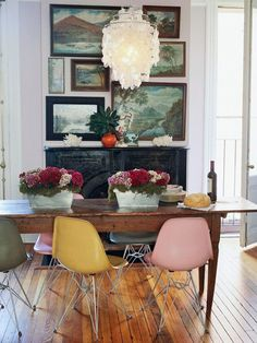 """love the serenity of this large painting gallery wall - grouping same colors together isn't boring (mix up the frames) - create an """"area"""" using the wall treatment......"""