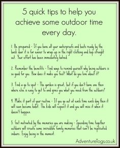5 quick tips to enjoy outdoor play every day.